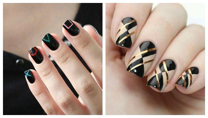 Геометрический дизайн с черным гель-лаком