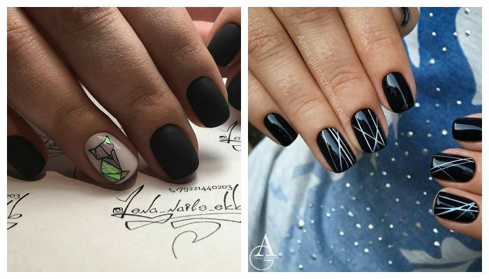 Современный дизайн ногтей черным гель-лаком
