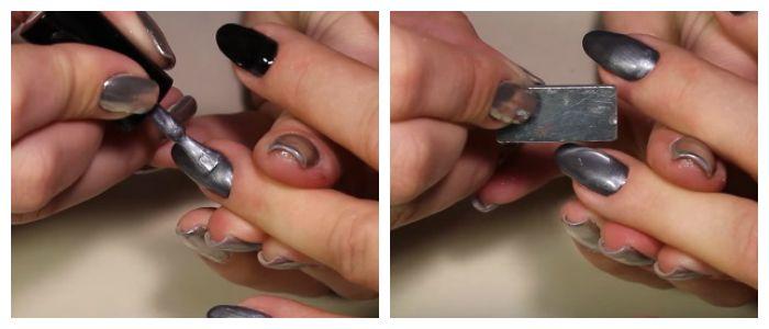 На высохшее покрытие наносим гель-лак с эффектом кошачьего глаза и магнитом создаем блик.