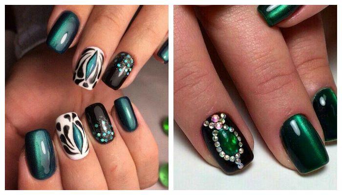 Дизайн ногтей со стразами Кошачий глаз