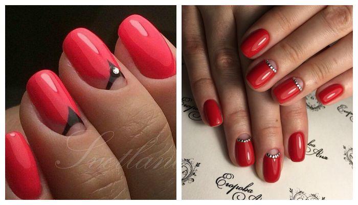 Варианты дизайна ногтей с красным гель-лаком
