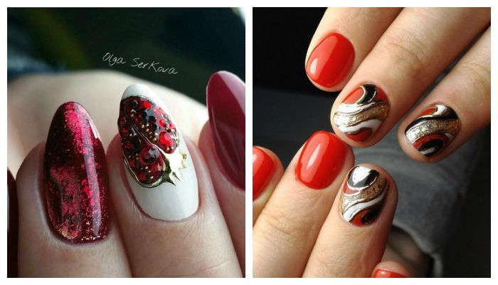 Красный дизайн ногтей с литьем