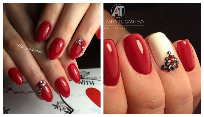 Красный дизайн со стразами