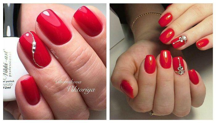 Варианты ногтей с красным гель-лаком