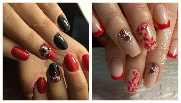Дизайн ногтей с красным гель-лаком стразами и камнями