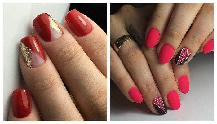 Рисунок геометрия на красных ногтях