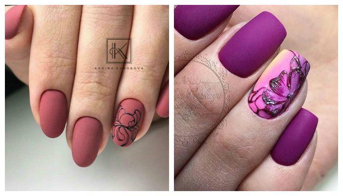Матовый маникюр с рисунком цветы