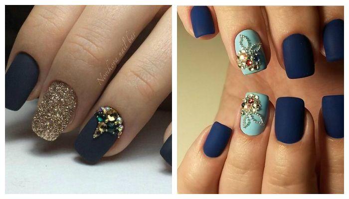 Дизайн ногтей со стазами и матовым гель-лаком