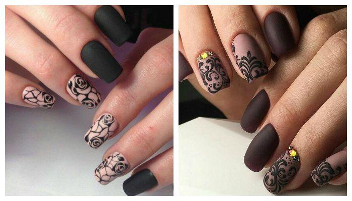Матовый дизайн ногтей с красивым рисунком