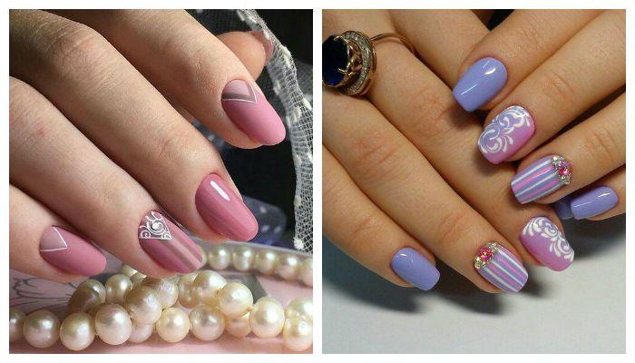 Рисунок с полосками на матовых ногтях