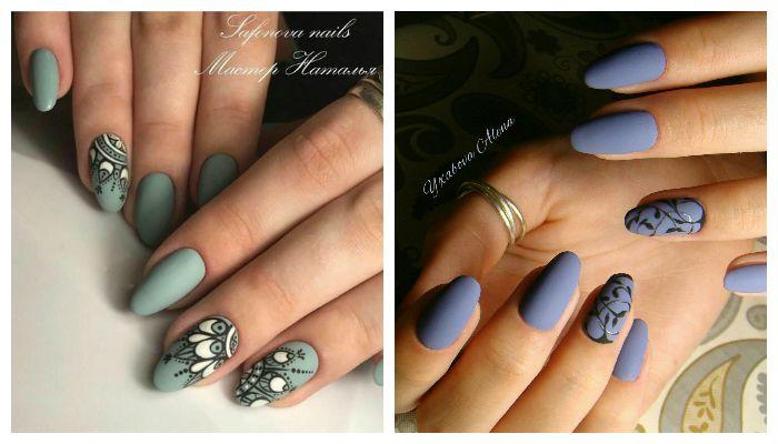 Красивый матовый дизайн ногтей