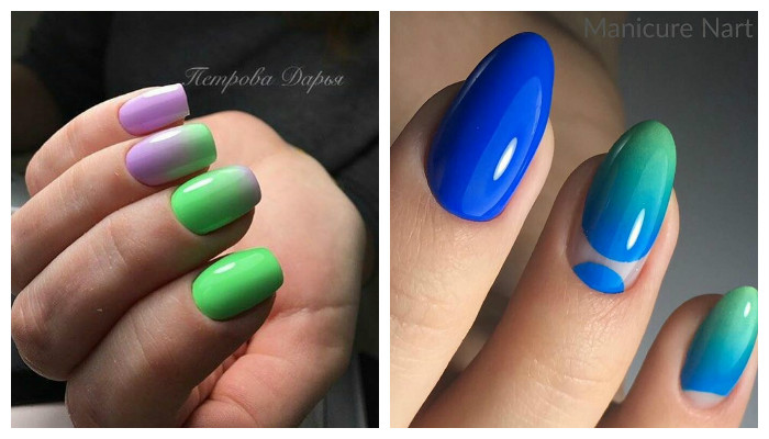 Контрастный дизайн ногтей омбре
