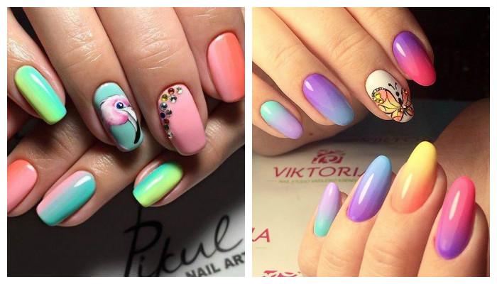 Радужный омбре дизайн ногтей