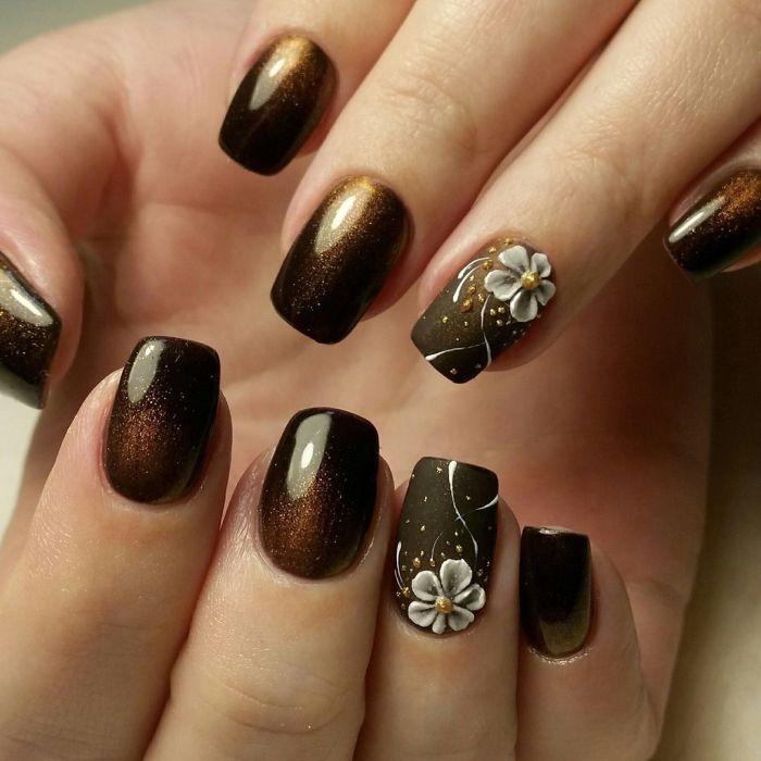 Объемные цветы гель-лаком на ногтях
