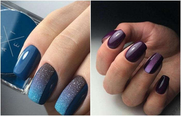 Геометрический градиент на ногтях гель-лаком и песком