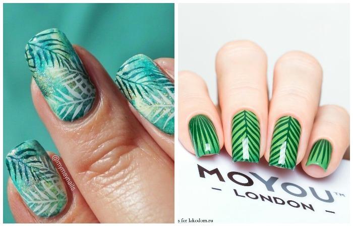 Ногти гель-лаком:  новинка дизайна лето 2017 - стиль ботаника, фото