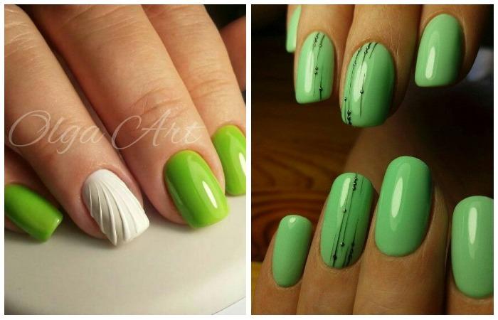 Ногти гель-лаком: модная новинка зеленый дизайн лето 2017, фото