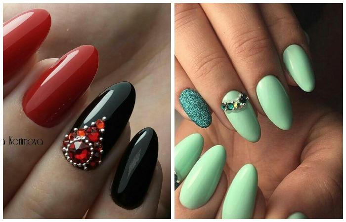 Красивый дизайн длинных ногтей шеллаком, фото