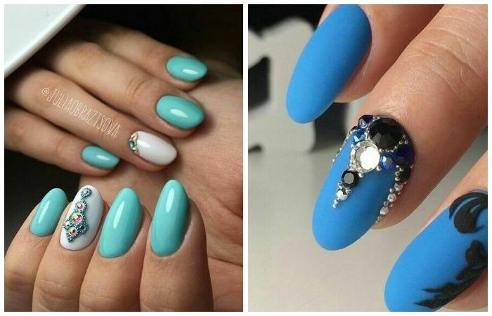 Дизайн длинных ногтей шеллаком со стразами, фото