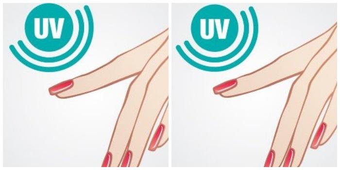 3 этап маникюра: нанесение 2 слоев цветного покрытия шеллак на ногти