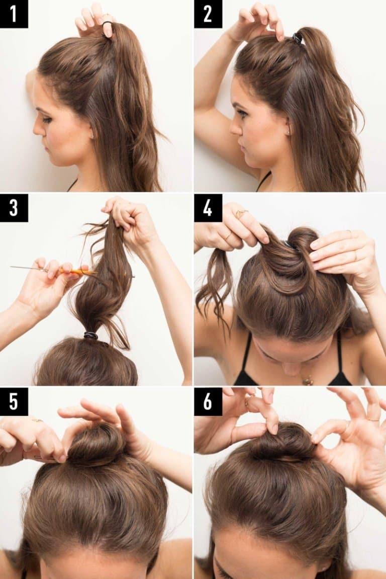 Как сделать прическу с пучком и распущенными волосами, пошаговое фото