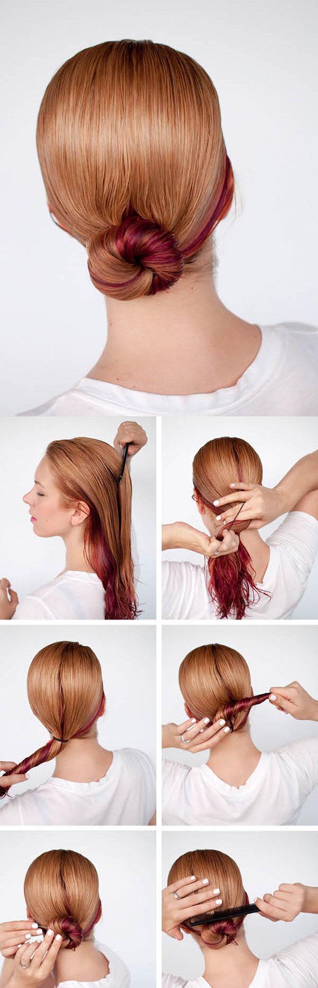 Как сделать низкую шишку из жгута без бублика: пошаговая инструкция