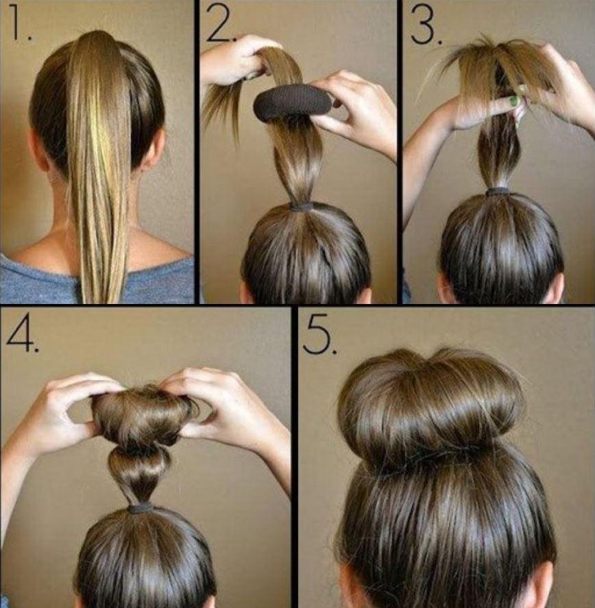 Как сделать пучок из резинки фото длинные волосы
