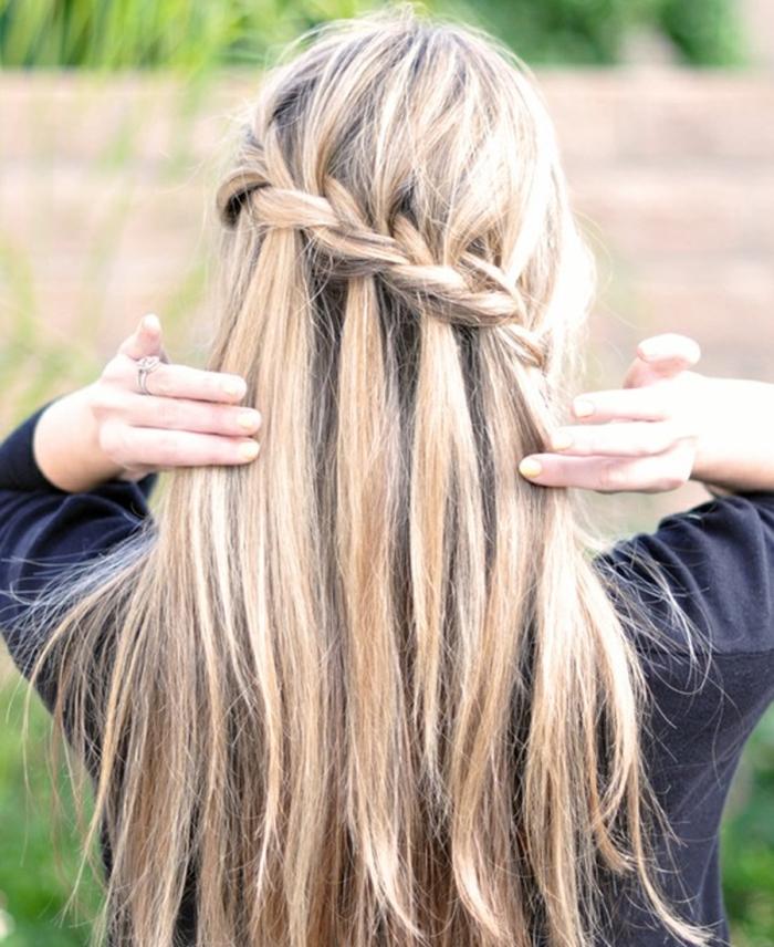 """Прическа """"Водопад"""" для длинных волос"""