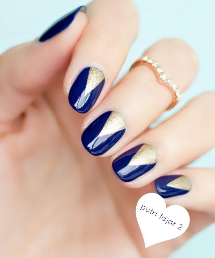 Синий маникюр для коротких ногтей