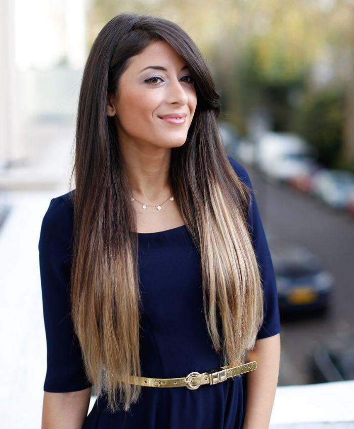 Стрижка на длинные волосы с длинной челкой на бок