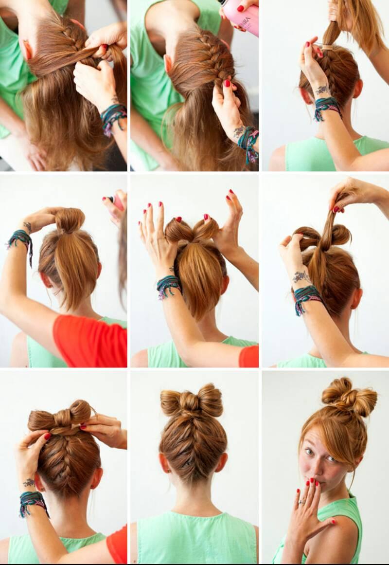 Как сделать бантик на голове на короткие
