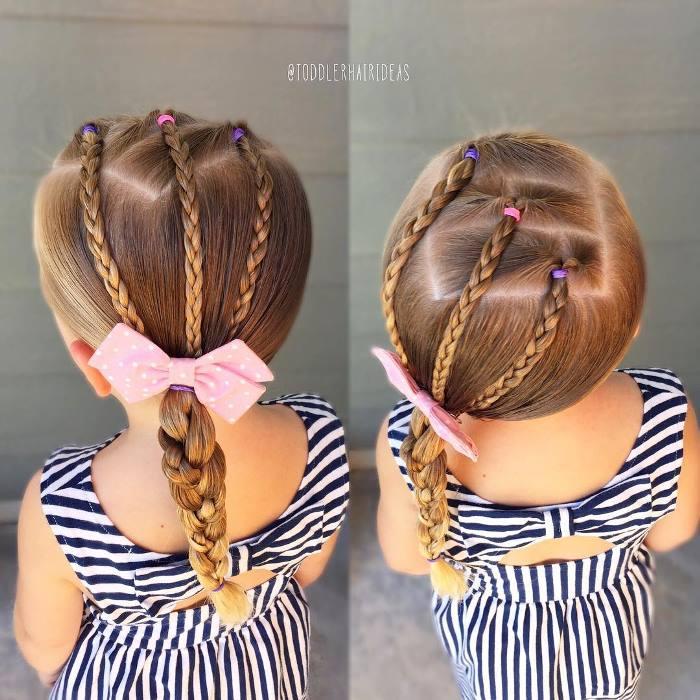детская прическа с бантом на длинные волосы