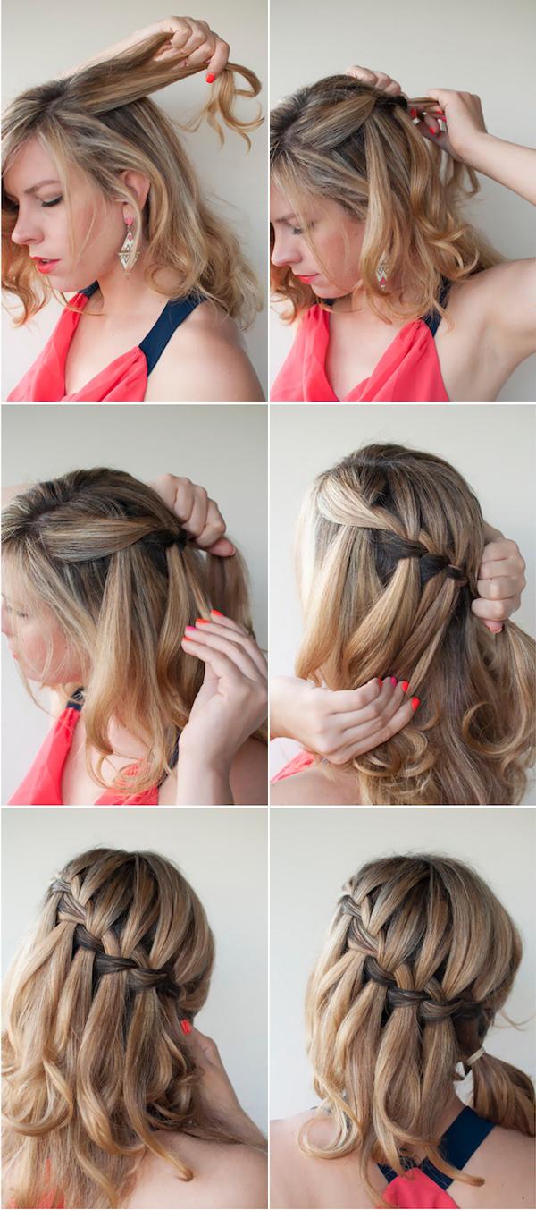 Коса водопад на короткие волосы: пошаговая инструкция