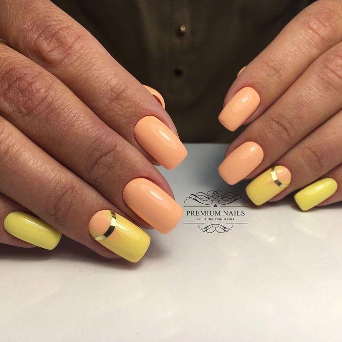 Желтый маникюр с градиентом