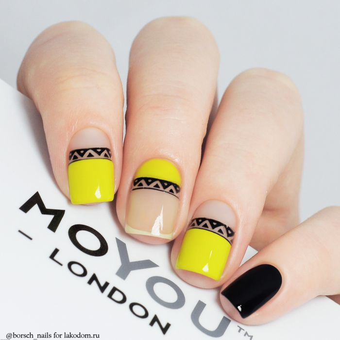 черно белые геометрические ногти фото