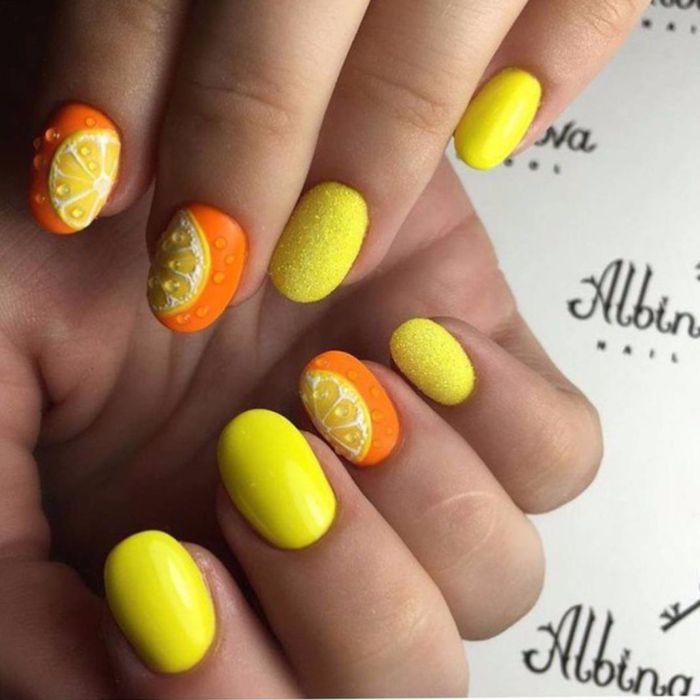 Желто-оранжевый маникюр