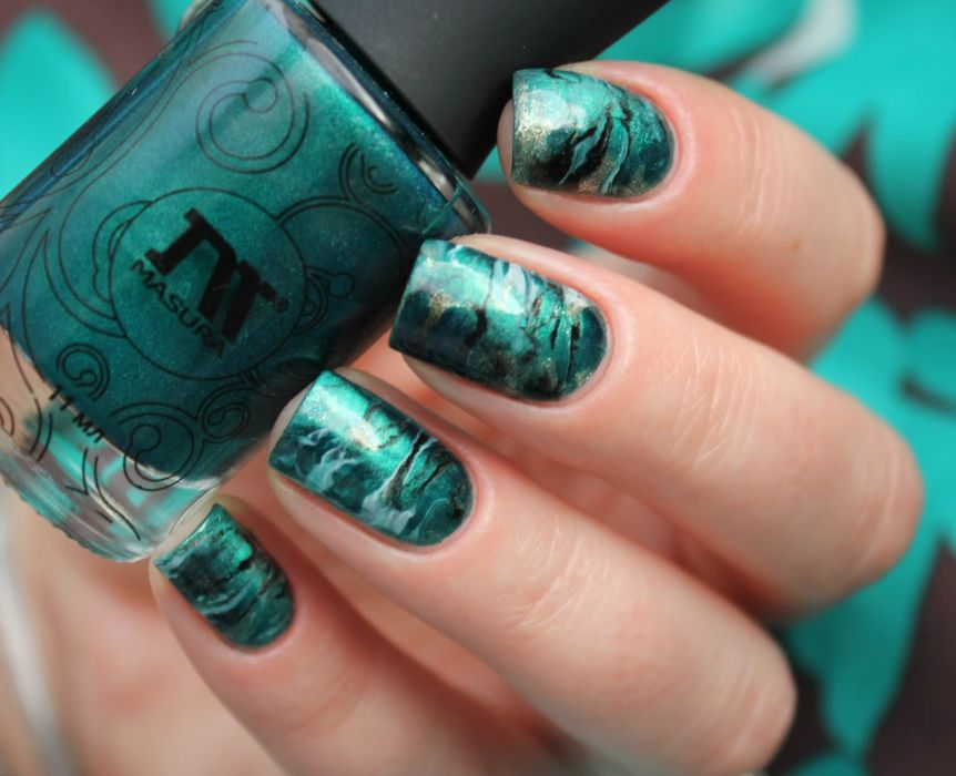 Дизайн ногтей зелень фото