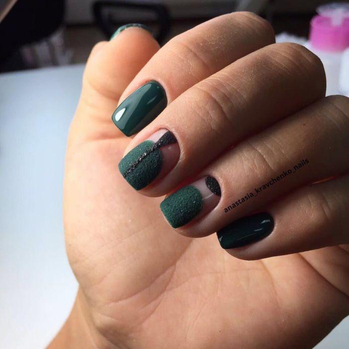 Зеленый маникюр на короткие ногти