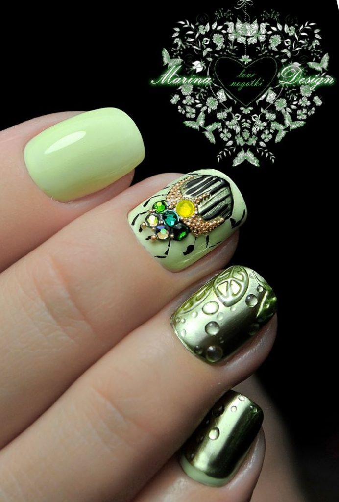 чем ассоциируется ногти зеленые с золотом произведения автора Генвик