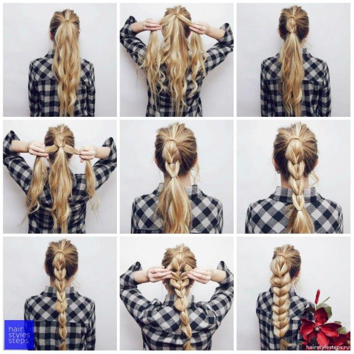 Как сделать прическу на короткие волосы с косой из резинок: пошаговое фото