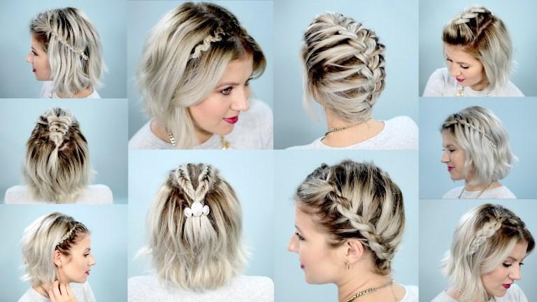 Варианты прически на короткие волосы с косой из резинок