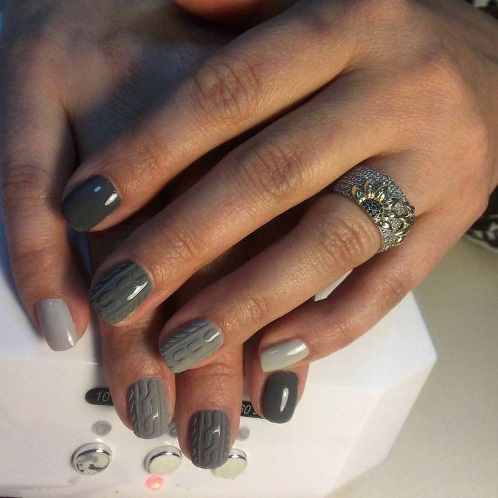 Серый дизайн ногтей гель лаками 33