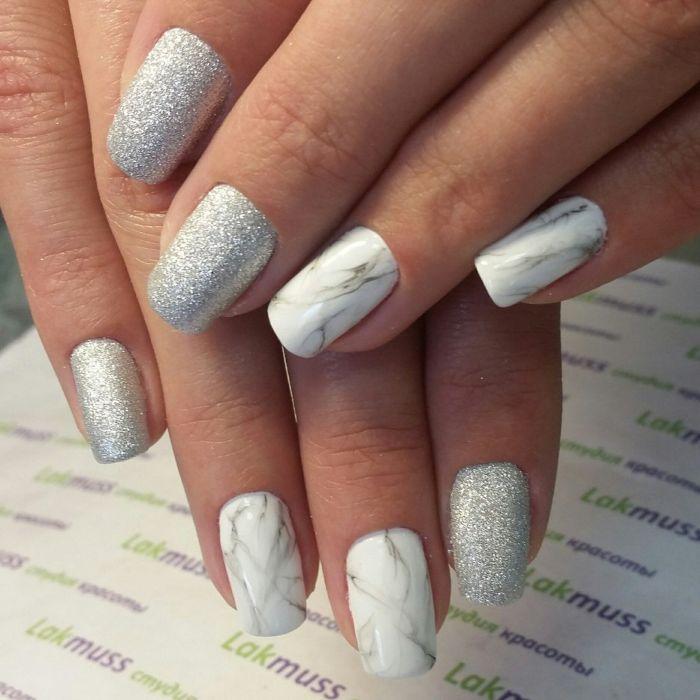 Серый мраморный маникюр с серебром