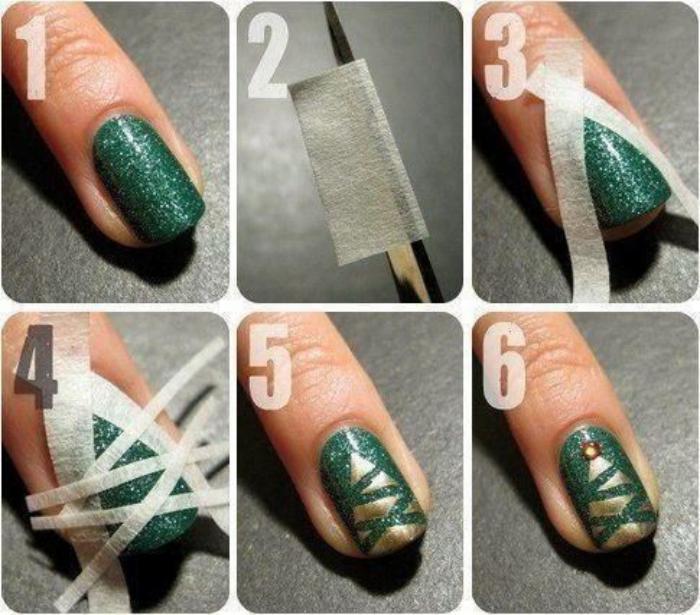 Красивые елочки на ногтях, фото пошагово