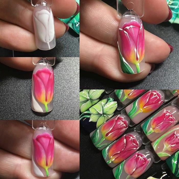 Цветы тюльпана на ногтях пошагово