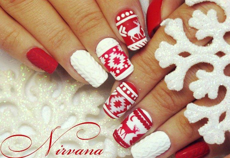 Скандинавский вязаный дизайн ногтей