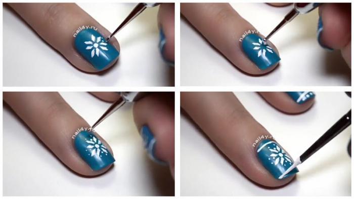 Вязаный маникюр со скандинавской снежинкой
