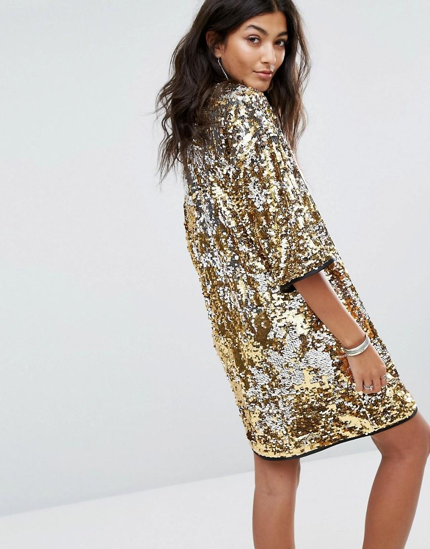 Новогоднее платье с золотыми паетками