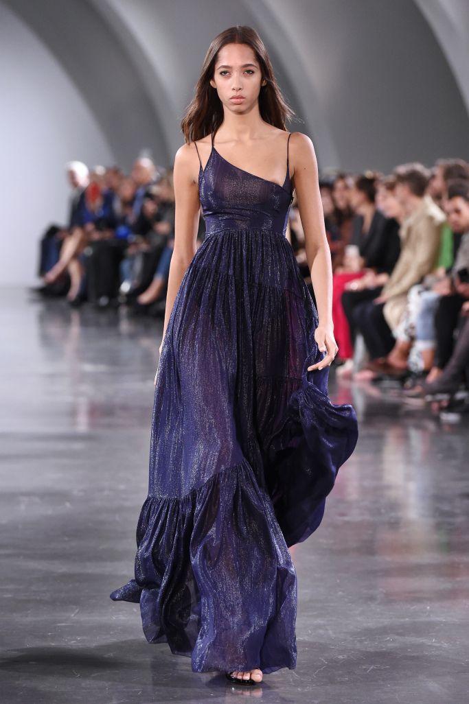 Роскошное синее платье Mugler с эффектом металлик