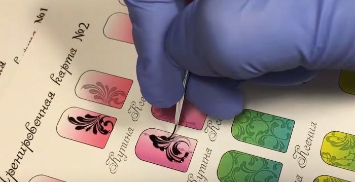 тренировочные карты для росписи ногтей вензеля